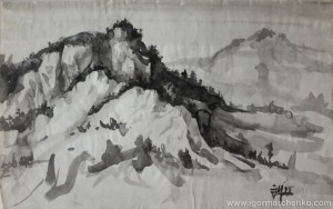 moutain_crimea_ink_brush1